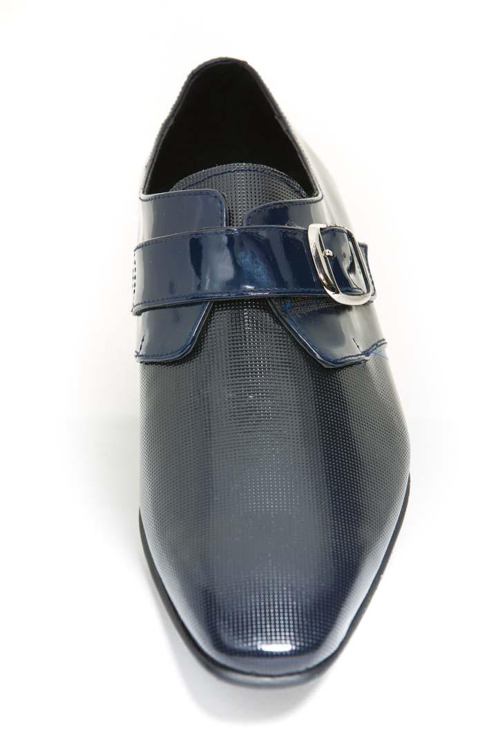 Zapatos de novio azul con hebilla
