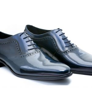 Zapatos de novio modelo Oxford azul antik
