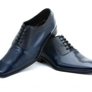 Zapatos de novio modelo Oxford en piel de color azul