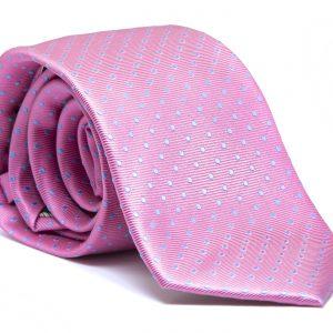 Corbata rosa topos azules