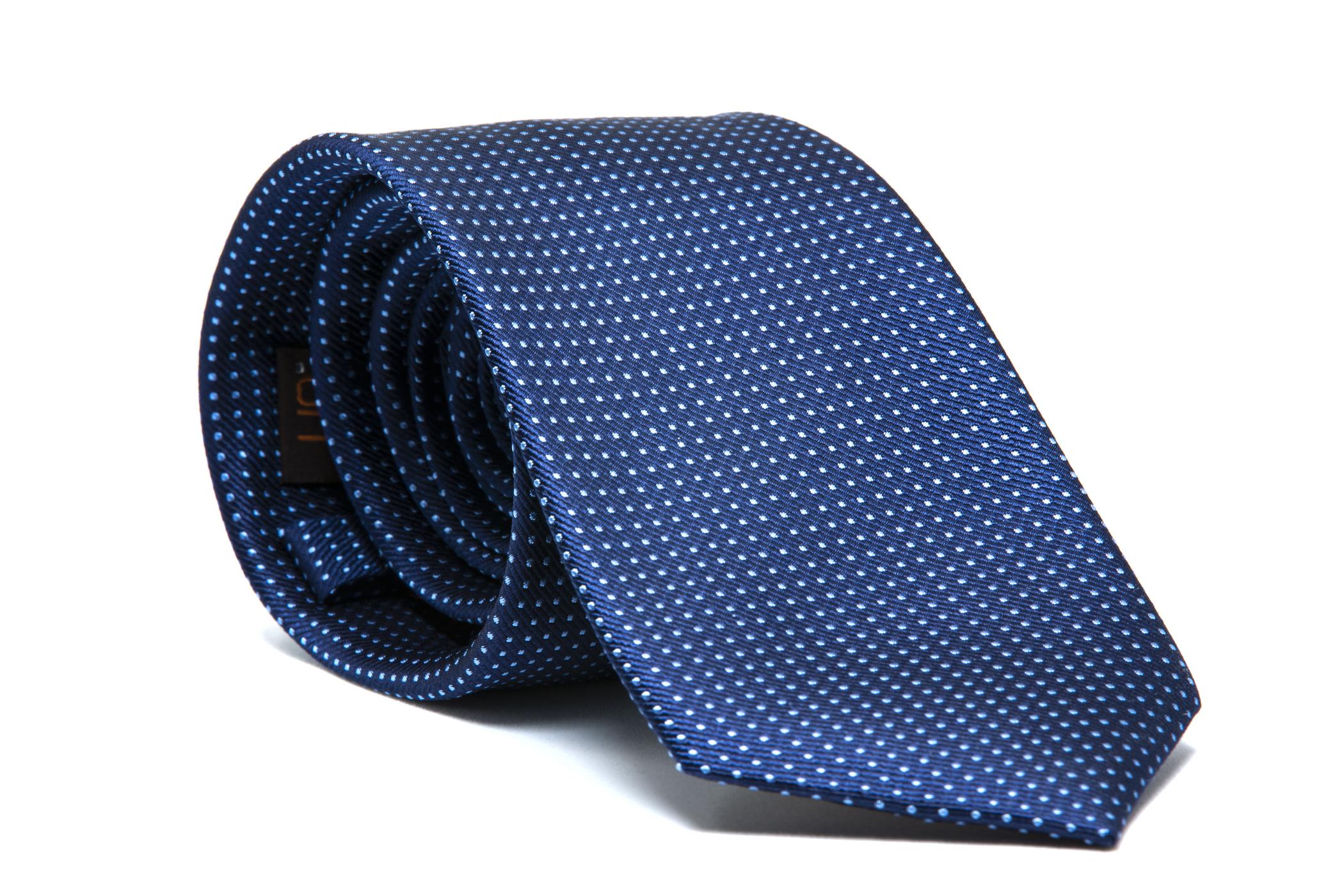 Corbata azul marino topos micro azules