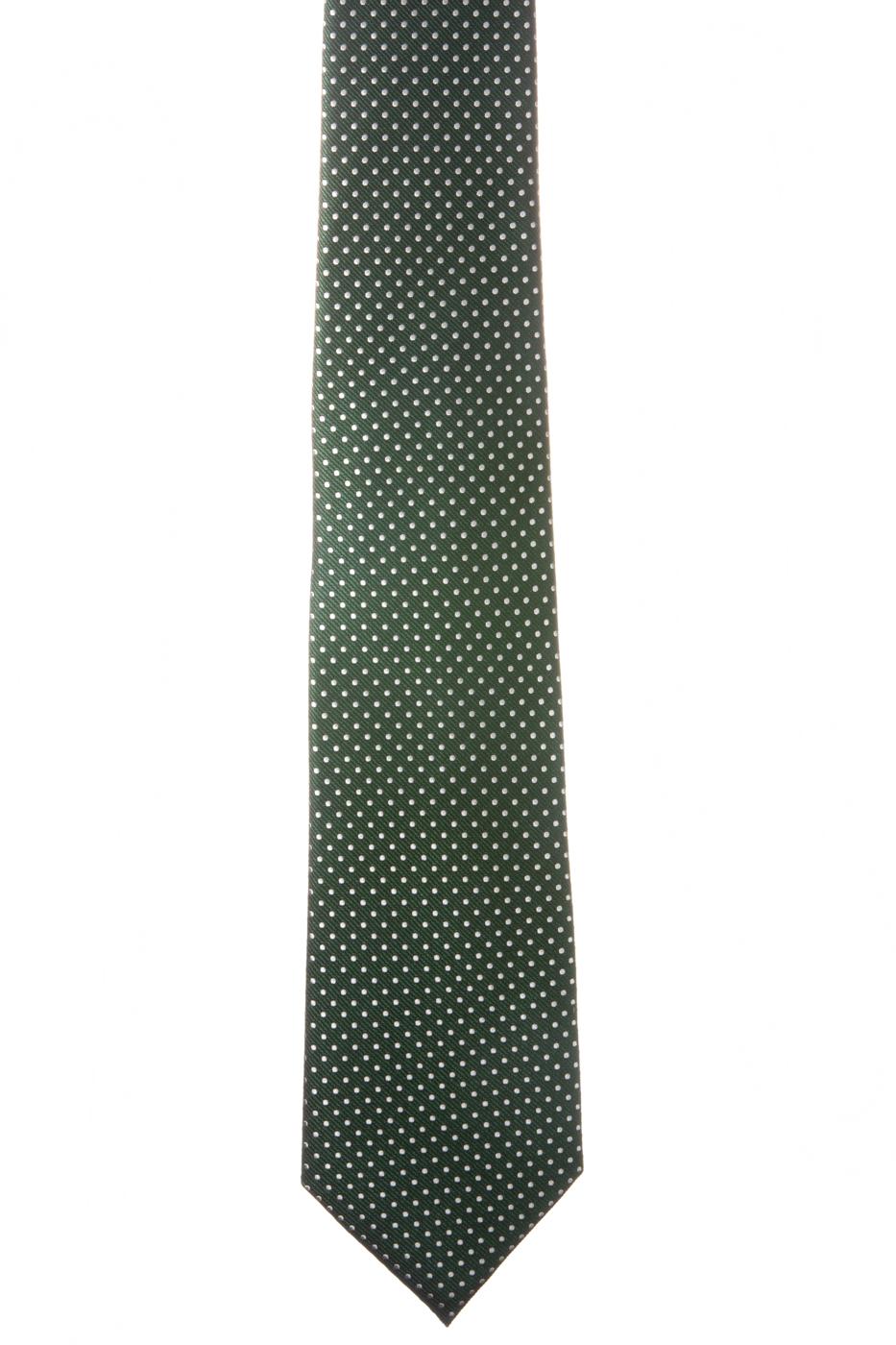 Corbata verde botella topos micro blancos
