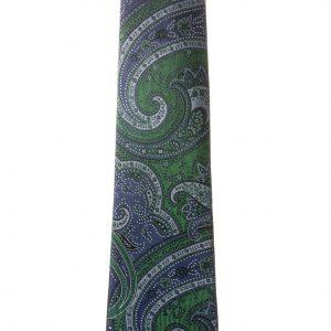 Corbata verde botella dibujos cachemir azul marino