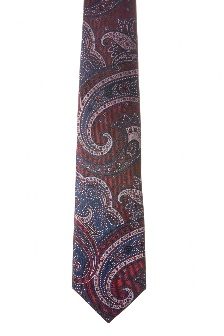 Corbata burdeos dibujos cachemir azul marino